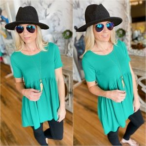 Tops - BURSTING WITH BOLD BABY-DOLL TUNIC-KELLY GREEN